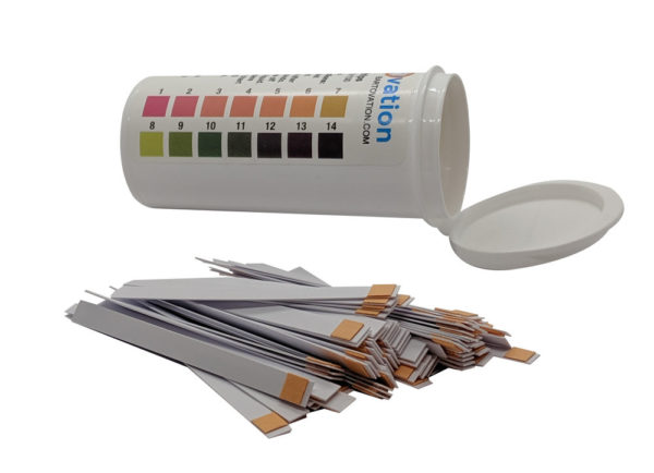 pH 1-14 Wide Range Test Strips [Moisture-Proof Vial of 100 Strips]