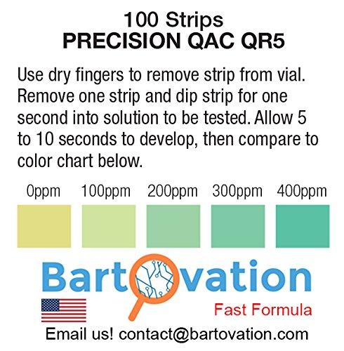Restaurant Quaternary Ammonium (QAC, Multi Quat) Sanitizer Test Paper, 0-400 ppm [Vial of 100 Paper Strips]