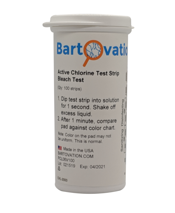 Active Chlorine/Bleach Test Strips, 0-2000 ppm, Designed for Daycares and Senior Homes for Sanitizing and Disinfecting [Vial of 100 Strips]