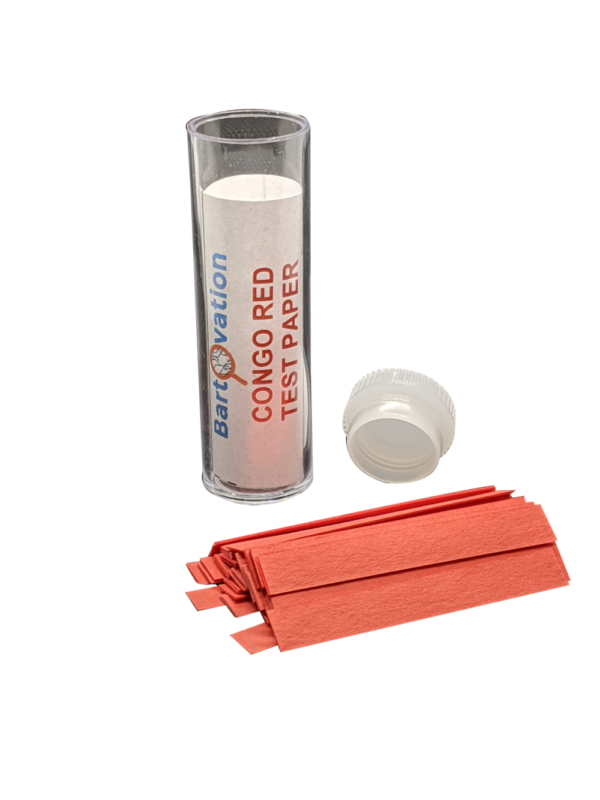Congo Red Test Paper [Vial of 100 Strips] for Qualitative Narrow-Range pH 3.0 to 5.2 Tests
