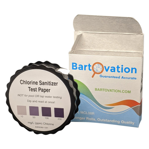 Restaurant Sanitizer Chlorine Test Paper, 10-200 ppm [5 Meter Roll]