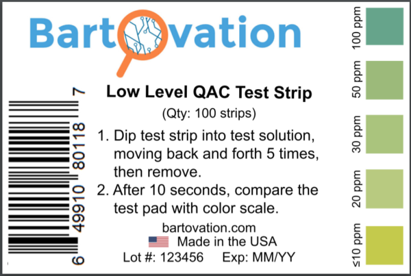 Low Level Residual Quaternary Ammonium (QAC, Multi Quat) Test Strips, 0-100 ppm [Vial of 100 Strips]