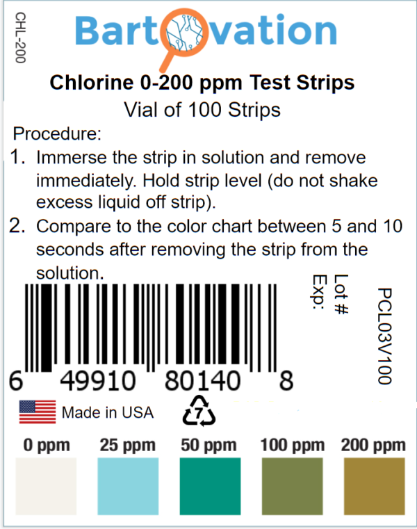 Restaurant Chlorine Sanitizer Plastic Test Strips, 0-200 ppm [Moisture Wicking Vial of 100 Strips]
