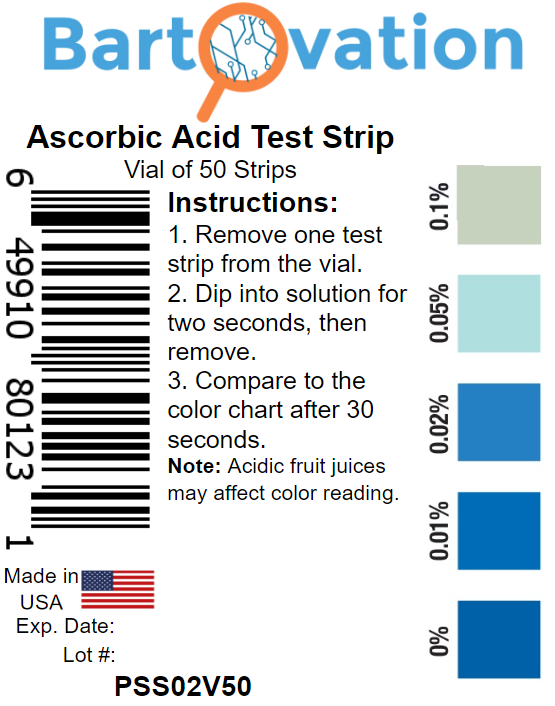 Ascorbic Acid Vitamin C Food Test Strips, 0.01 to 0.1% [Vial of 50 Strips]