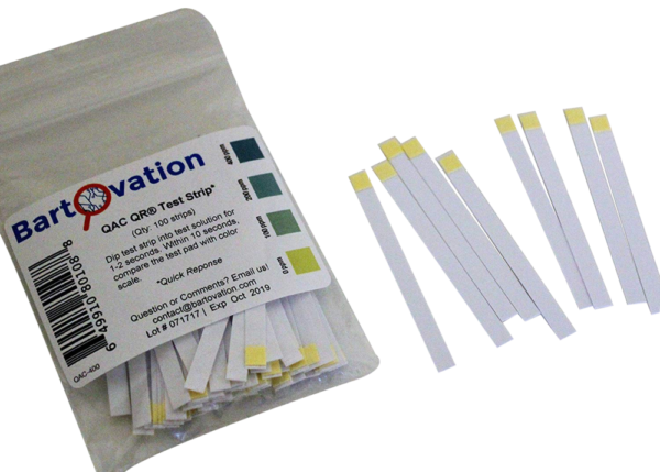 Restaurant Quaternary Ammonium (QAC, Multi Quat) Sanitizer Test Strips, 0-400 ppm [Bag of 100 Plastic Strips]